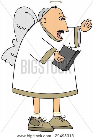 Illustration Of A Balding Angel Standing While Singing From An Open Hymn Book.