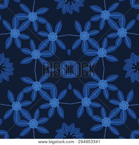 Indigo Blue Hand Painted Daisy Large Scale Floral Vector Seamless Pattern Background. Masculine Shir