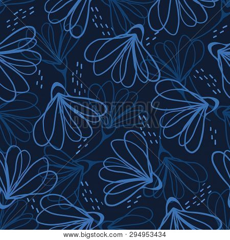 Indigo Blue Hand Painted Large Scale Floral Vector Seamless Pattern Background.