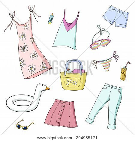 Summer Women And Gris Clothes. Set Of Colorful Vector Illustrations. Isolated On White Background. E