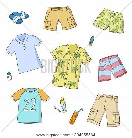 Summer Men And Boys Clothes. Set Of Colorful Hand Drawn Vector Illustrations. Isolated On White Back