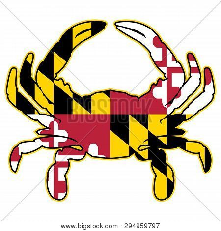 Maryland Flag Colors Crab Vector Graphic With Very Cleans, Bold Red, Black, White And Yellow Colors