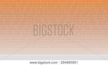 Painted Background Of An Empty Brick Wall Lightened To The Floor
