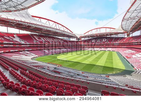 Lisboa, Portugal - April 2018: View On Estadio Da Luz - The Official Stadium Of Fc Benfica