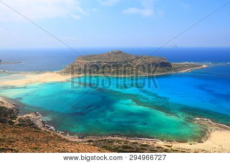 Balos Lagoon. Coast Of Crete Island In Greece. Crete Landscape.
