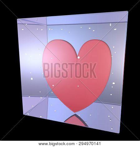 Big Red Heat Inside A Crystal Cube