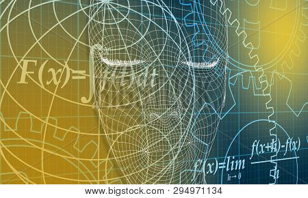 Abstract Futuristic Stripe Line Printed Circuit Board Pattern With Gear Wheel And Math Fornula On Bl