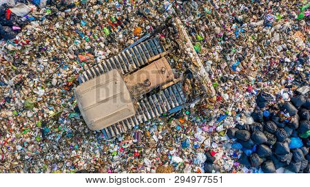 Aerial View Tons Of Plastic Waste, Plastic Pollution On Land.
