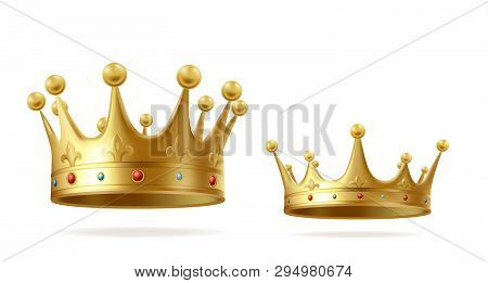 Golden Crowns With Gems For King Or Queen Set Isolated On White Background. Crowning Headdress For M