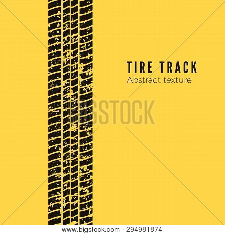Dirt Track From The Car Wheel Protector. Tire Track Silhouette. Black Tire Track. Vector Illustratio