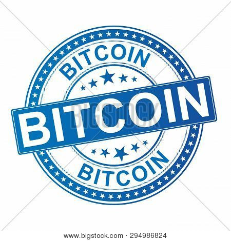 Bitcoin Rubber Stamp. Bitcoin Virtual Btc, Currency Grunge Stamp, Rubber Texture, Vector Illustratio