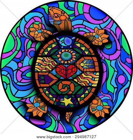 Colorful Mesoamerican Turtle For Uv Tattoo Design