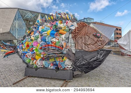 Helsingor, Denmark - March 24, 2019: Fish Sculpture Created From Trash Found In Oresund, The Sea Bet