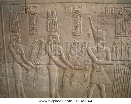 Temple Wall Close Up With Hieroglyphics, Egypt