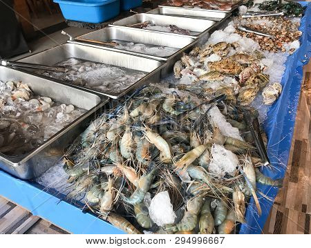 Fresh Prawn Seafood And Fish In Market Store