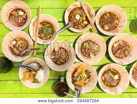 Thai Boat Noodle Pork Blood On Green Table