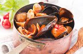 Mussels in tomato sauce poster