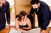 Stimulate sexual desire. Sexy girl big boobs working in mostly male workplace. Desirable sexy lady boss. Woman sexy attractive female working with men colleagues. Busty colleague. Sexual attraction poster