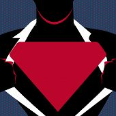 Man in Superman Pose Opening Shirt to Reveal Blank Triangular Logo. Male Silhouette with Man of Steel Empty Trademark on his Chest. Superhero Profile with Triangle Emblem on Bosom. poster