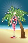 Holiday Flamingo putting a star on decorated palm tree poster