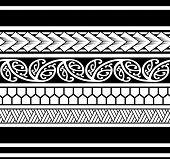 Polynesian tattoo sleeve pattern vector, samoan sketch forearm and foot design, maori stencil bracelet armband tattoo tribal, band fabric template seamless ornament poster