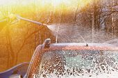 Man washes his orange car at car wash on clear sunny day. Cleaning with soap suds at self-service car wash. Soft yellow sunlight. poster