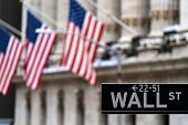 Wall street sign with New York Stock Exchange background New York City, New York, USA. poster