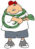 This illustration depicts a boy holding a large green snake. poster