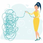 Businesswoman or young female character tries to pull the tangled rope. Business concept. Tangle tangled and unraveled. Abstract metaphor, business problem solving. Flat cartoon vector illustration. poster