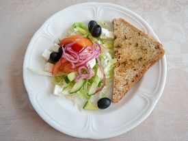 Breakfast Healthy Grilled Sandwich Salad With Plate