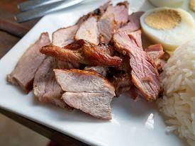 Grilled Pork, Boiled Egg And Salad With Steamed Jasmine Rice
