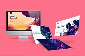Web Design Template. Vector Illustration Concept Of Website Design And Development, App Development,