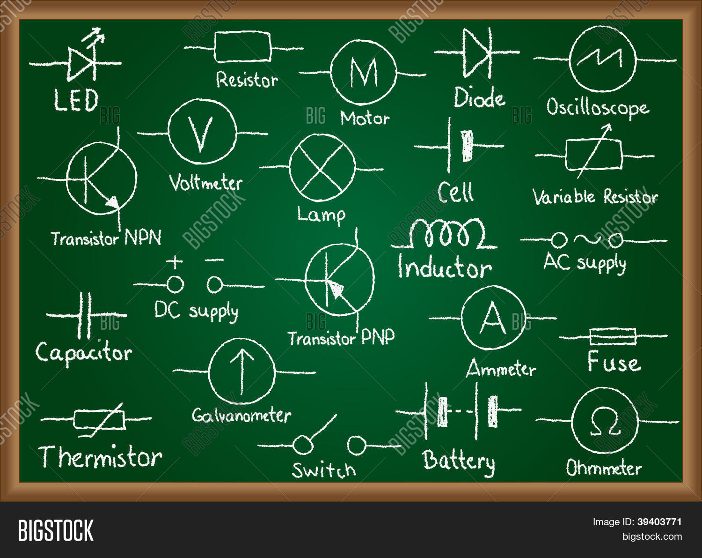 Electrical Circuit Image Photo Free Trial Bigstock Ac Wiring Symbols On Chalkboard