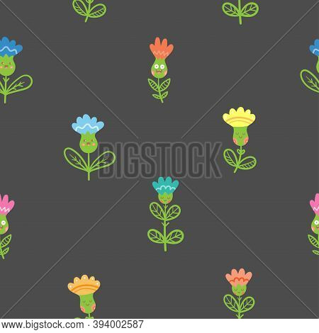 Seamless Pattern With Cutr Cartoon Peony On Dark Background. Floral Print With Blubells. Anthropomor