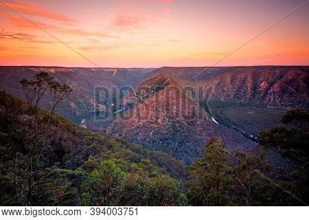 Shoalhaven River Sunset Views Of The Winding River Around The Mountain Ranges, Some Of Which Are Sti