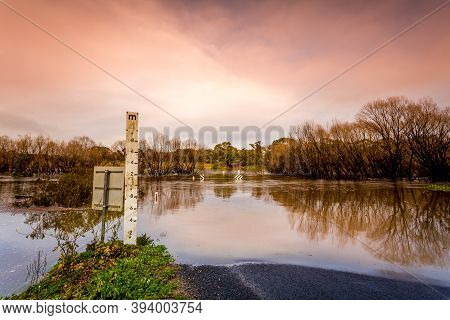Road Cut By Flood Waters Of The Wollondilly River, The Water Level At 2 Metres, But It Rose To 4 Met
