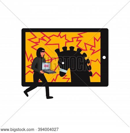 Hacker Composition With Character Of Cyber Thief Holding Portable Computer And Silhouette Of Trojan