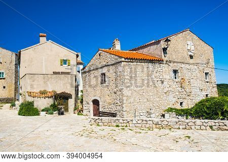 Ancient Town Of Lubenice On The Island Of Cres In Croatia, Cobbled Streets And Old Stone Houses