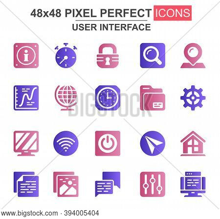 User Interface Glyph Icon Set. Pinpointer, Lock, Gear, Email, Magnifier, Clock, Wifi, Settings, Sear