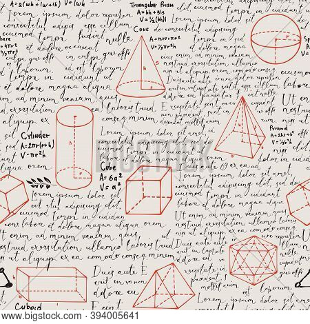 Abstract Seamless Pattern With Black Handwritten Text Lorem Ipsum And Red Hand-drawn Geometrical Fig