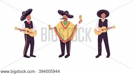 Mexican Musicians Flat Color Vector Faceless Character Set. Hispanic Guitarist. Traditional Latin Mu