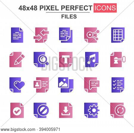 Files Glyph Icon Set. Document Lock, Edit, Delete, Processing, Search, Preferences, Media Content, U