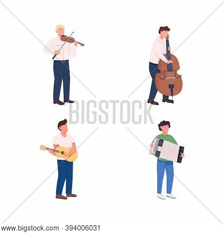 Orchestra Musicians Flat Color Vector Faceless Character Set. Play Melody. Classical Music Instrumen