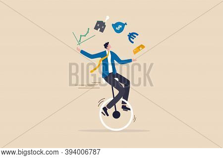 Financial Advisor, Professional Investment Expertise Concept, Smart Businessman Investor Juggling Fi