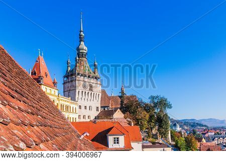 Sighisoara, Transylvania, Romania. Sighisoara Famous Medieval Fortified City And The Clock Tower.