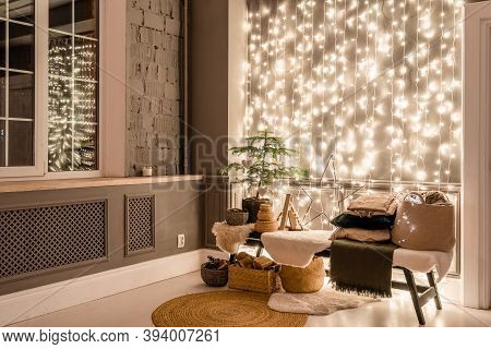 Classic Apartments With Decorated Christmas Tree And Presents. Christmas Evening In The Light Of Can