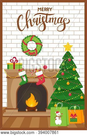 Template New Year, Christmas Greeting Card With The Words Merry Christmas. Fireplace, Christmas Tree