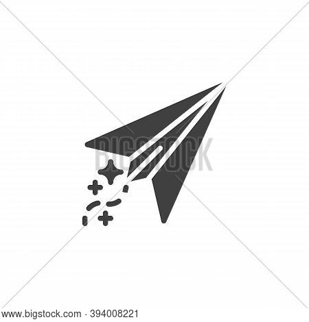 Paper Plane Vector Icon. Filled Flat Sign For Mobile Concept And Web Design. Toy Plane Glyph Icon. S