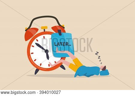 Procrastination Do It Later, Postpone To Work Tomorrow, Unproductive And Excuse Concept, Lazy Man Sl