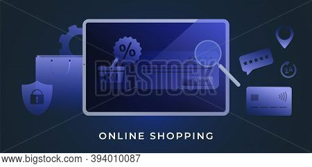 Online Shopping Concept With Tablet Pc In Muted Deep Blue Tones. Ecommerce Internet Store, Webshop W